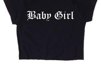 FREE UK Shipping Baby Girl Gothic, Black Crop top, Y2k 90s Grunge Rock, Kawaii, Pastel, Baby Blue Pink, Goth, Womens Ladies, S M L XL 2XL