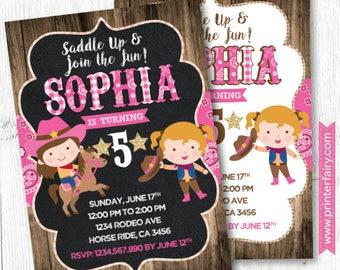 Cowgirl Invitation, Horse Invitations, Pony Birthday Invitation DIGITAL, 2 Options