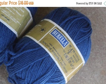 SALE SALE SALE Vintage Destash Lot Yarn Skeins Set Four Indigo Blue Berella Bernat Knitting Crocheting Crafting Supplies