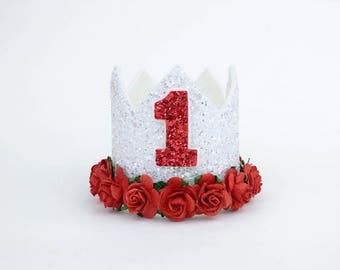 1st Birthday crown | 2nd birthday crown | 3rd birthday crown | birthday hat | photo prop | girls crown | red crown | valentine outfit