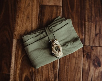 Olive and golden yellow Garden wrap and headband set
