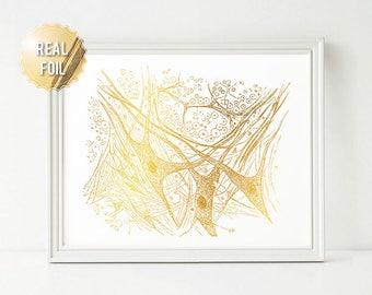 Neuroscience Art Brain Gray Matter - Gold Foil Print - Neuroscience Gift - Brain Anatomy Print - Neuroscience Poster Print - Greys Anatomy