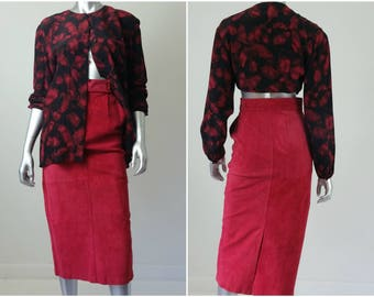 80s Clothing | Suede Skirt | High Waisted Skirt | Pencil Skirt | Midi Skirt | 80s Vintage | Leather Skirt | Red Leather | Red Skirt | Size 6