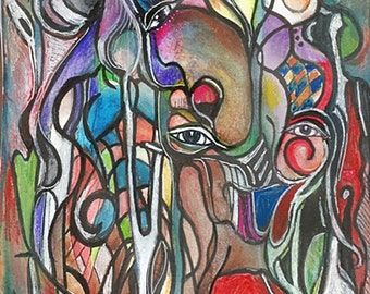 Abstract African Surreal Waterfall of Color Original Art in Watercolor