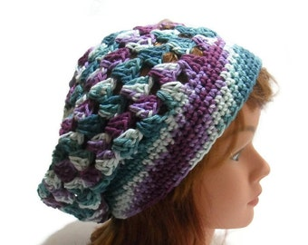 Holiday Gift, Cotton Summer Tam, Beach Hat, Granny Square Hat, Cotton Summer Hat, Purple Ombre Hat, Cotton Tam Hat, Summer Hats for Women