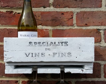 Upcycled Rustic, shabby chic Pallet Wine Rack / Glasses rack