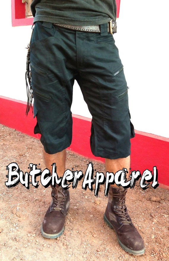 Men's Cargo 3/4 Shorts, mens shorts, steampunk, psytrance goa pants