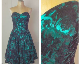 Vintage Metallic Dress Green and Black Floral Print Metallic Dress Retro Clothing