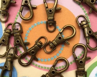 40 Pieces 23.5mm / 1 inch Swivel Clips (Choose Your Finish: Antique Brass, Nickel, and Gold Color)