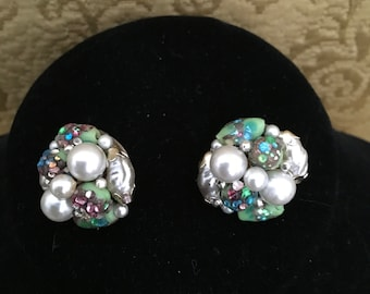 Vintage Glass and Faux Pearl Earrings