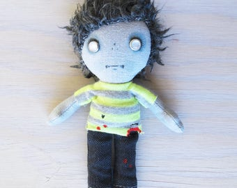 Pocket Zombie Doll - boy in neon green stripe tee