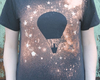 Grunge Cat T Shirt with Night Sky