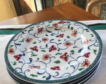 Coventry Fine Porcelain PORTUGESE TILE Four Salad or Dessert Plates Indonesia