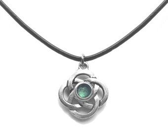 Silver Celtic Knot Necklace, Green Jewelry, Stainless Steel or Black Leather Necklace Chain