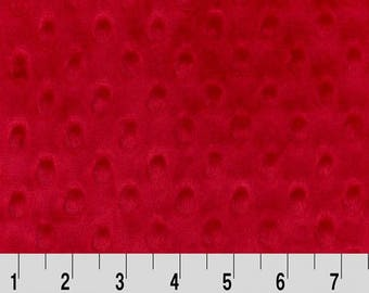 Shannon Minky Fabric, Shannon Dimple Dot Minky, Red Dimple Dot Minky, Red Minky Fabric, Minky Fabric, Minky Fabric by the Yard