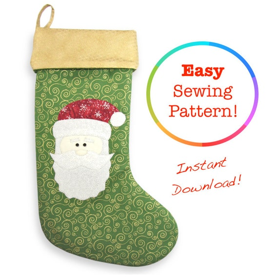 Christmas Stocking Pattern, Christmas Sewing Patterns, Santa ...