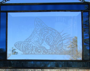 Stained Glass, Etched,  Sun Catcher -Tiger Kitty- Hand Crafted - Sapphire Blue