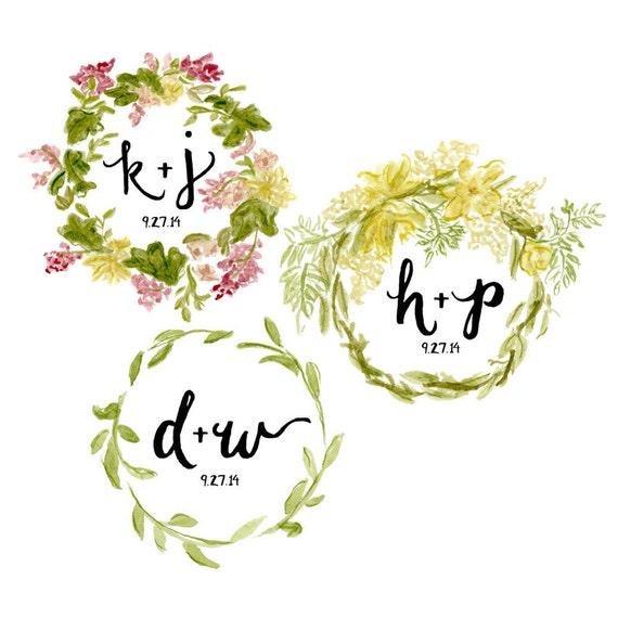 Customizable Floral Wreath Wedding Logo watercolor illustration