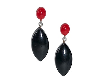 Cherry Red and Black Marquis Statement Lucite Drop Earrings   vintage Lucite Leetie Lovendale