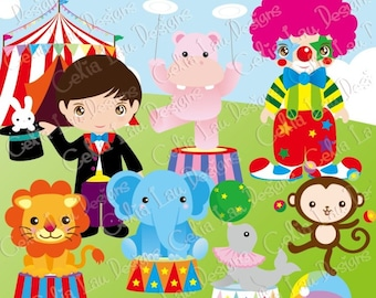 Circus Party Digital Clipart/ Cute Animals Circus clipart and paper set (CG025) /For Personal and Commercial Use/ INSTANT DOWNLOAD