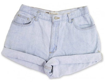 Vintage 90s Faded Glory Light Blue Wash High Waisted Rise Cut Offs Cuffed Rolled Jean Denim Shorts – Size 29
