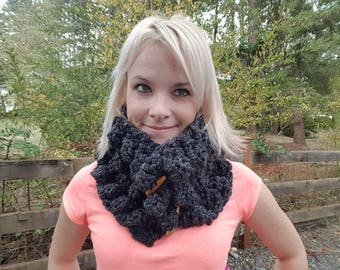 Crochet Black scarf, winter crochet chunky scarf, knitted neck warmer, button scarf, crochet pattern available too, birthday gift