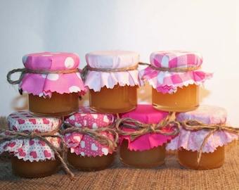 20 pink  wedding favour fabric mini jar top covers