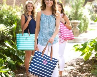 Monogrammed Stripe Tote Bag, Monogrammed Beach Tote, Monogrammed Bag, Personalized Tote, Beach Tote, Beach Bag, Summer Tote, Bridesmaid Gift