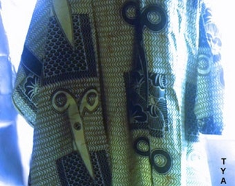 African Print Tunic Dress with matching scarf.