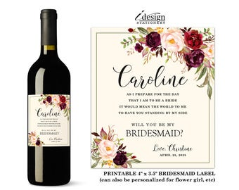 Will You Be My Bridesmaid Wine Label | Printable Floral Watercolor Bridal Party Proposal Wine Bottle Labels For Flower Girl, Maid Of Honor