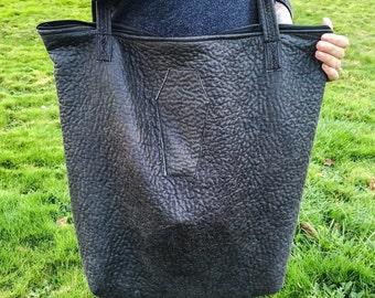 Textured tote bag - Handmade gray tote bag - Coffin patch tote bag - Dark fashion tote bag
