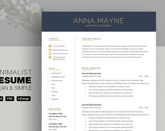 Professional Resume Template, CV, Curriculum Vitae Template Design, Instant Download For Word, Two-Page Resume