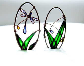 Blue Dragonfly Earrings. Copper Earrings. Oval Earrings. Dragonfly Jewelry. Green Earrings. Copper Jewelry. Colorful Jewelry. Unique Earring