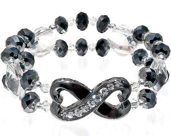 Crystal infinity bracelet, bridal black silver, birthday gift for her, infinity love crystal bracelet, Jet Hematite Swarovski, holiday glitz