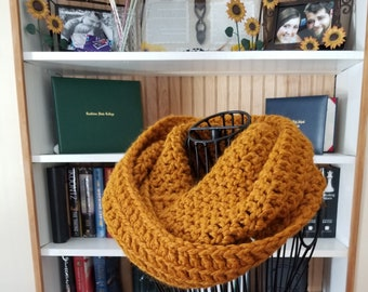 Thick and Chunky Infinity Scarf, Marie Scarf, Warm Crochet Scarf, Handmade in Wool/Acrylic yarn, in Butterscotch/vintage Gold/Mustard