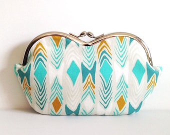 Turquoise Diamonds, southwest sunglass case or small clutch