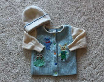 Infant Blue and White Cashmere  Sweater