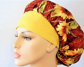 Surgical Womens Bouffant Scrub Hat- Sunflowers in Paris