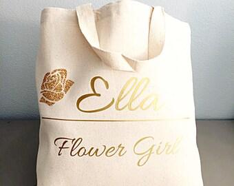 Flower girl gift - Glitter Flower - Flower girl - Natural Tote