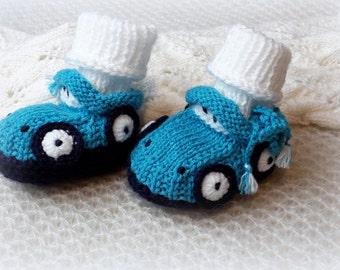 Blue Baby Boy Booties Newborn Baby Cars Booties Blue Knitted Baby Shoes Newborn Boy Booties Hand knit Blue Newborn Baby Socks Car /0-6 month