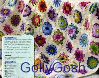 PDF Crochet Pattern for a Daisy Granny Square Floral Medallion Throw/Afghan Cover Instant Download