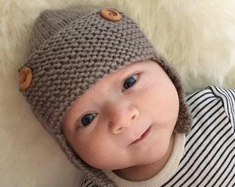 Aviator Hat Knitting Pattern, Baby Aviator Hat Pattern for Boys, Aviator Hat for Baby Boy Knitting Pattern, Instant Download REGAN
