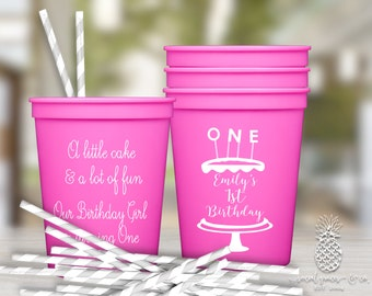 1st Birthday Party Cups | Custom Printed Stadium Cups | Monogrammed Plastic Cups | First Birthday Party Cups | Personalized Party Favor Cups