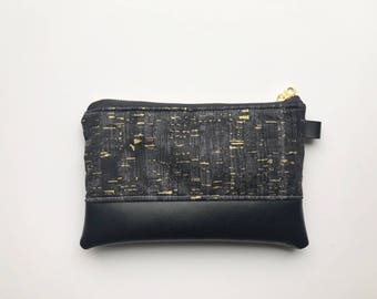 Uncorked black and gold coin purse with black faux leather