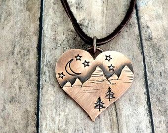 Heart Mountain Necklace - Night Sky Moon and Stars - Mountain Jewelry - Hiker Backpacker Camper Necklace - Outdoor Woman - Under the Stars