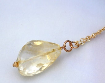 Lemon Quartz Necklace | Quartz & Gold Necklace | Long Layering Necklace | Chunky Large Faceted Pendant, 14K GF | Long Layered Layering Chain
