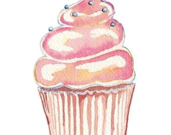 Pink Cupcake Art Watercolor Painting Illustration - Pink Cupcake Art Food Art Print, 5x7 Fun Wall Art