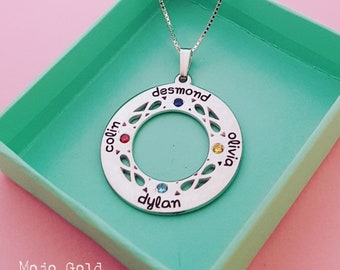 Family Necklace Circle Necklace Birthstone Necklace Silver Name Necklace Eternity Necklace Children Name Jewelry Mother Gift Gift For Mom