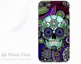 Paisley Skull  iPhone 6 Plus / 6s Plus Case - Sugar Skull Sombrero Night - Purple Day of the Dead iPhone 6 Plus case - Dual Layer TOUGH Case