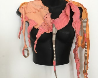 Finch Feather...Sculpted Skinny Scarf OOAK, Recycled